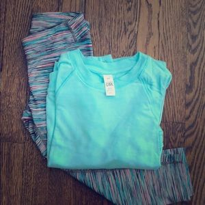 Athleta Girls capris & Criss cross sweatshirt